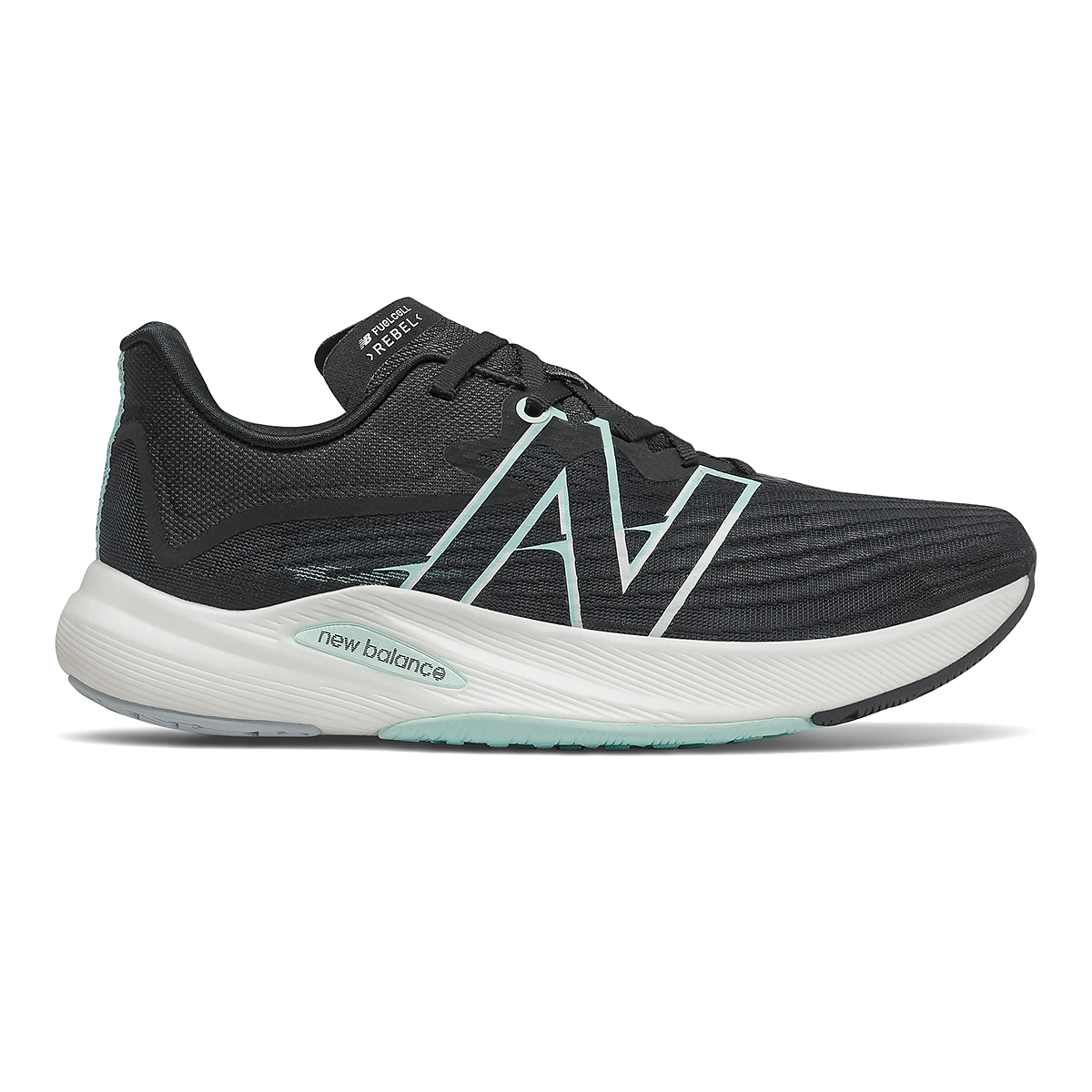 Women's New Balance Fuelcell Rebel V2 Running Shoe - Color: Black/White Mint/Citrus Punch - Size: 5 - Width: Regular, Black/White Mint/Citrus Punch, large, image 1