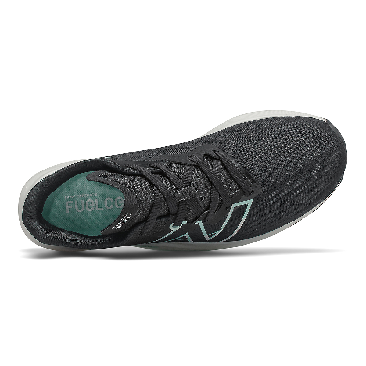 Women's New Balance Fuelcell Rebel V2 Running Shoe - Color: Black/White Mint/Citrus Punch - Size: 5 - Width: Regular, Black/White Mint/Citrus Punch, large, image 3