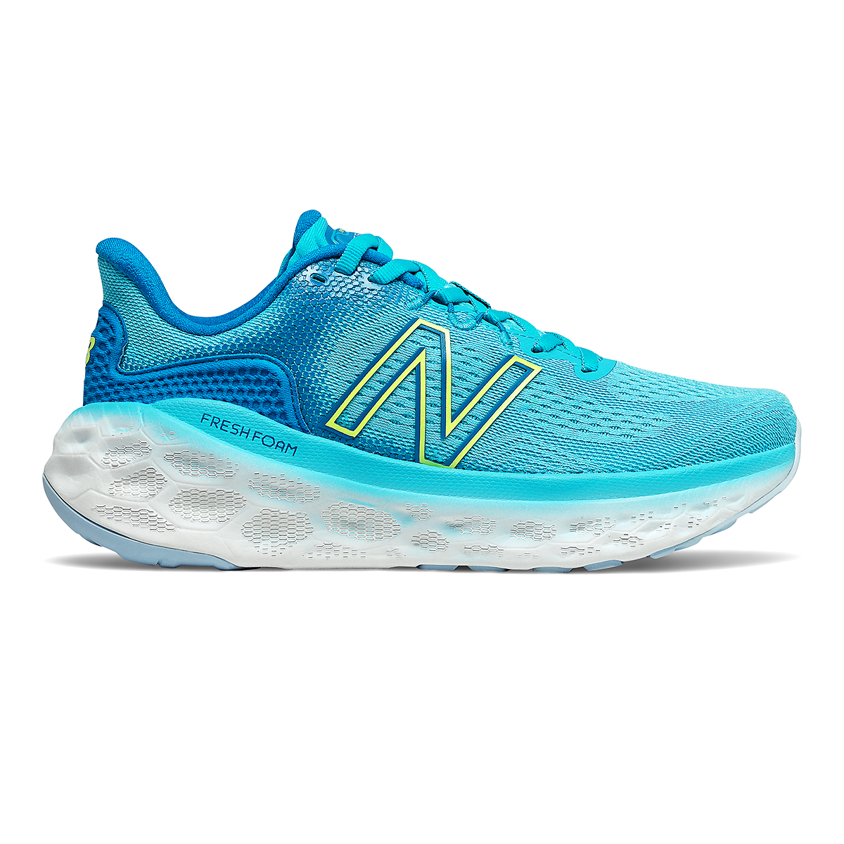 Women's New Balance Fresh Foam More V3 Running Shoe - Color: Virtual Sky/Bleached Lime Glo - Size: 5 - Width: Extra Wide, Virtual Sky/Bleached Lime Glo, large, image 1