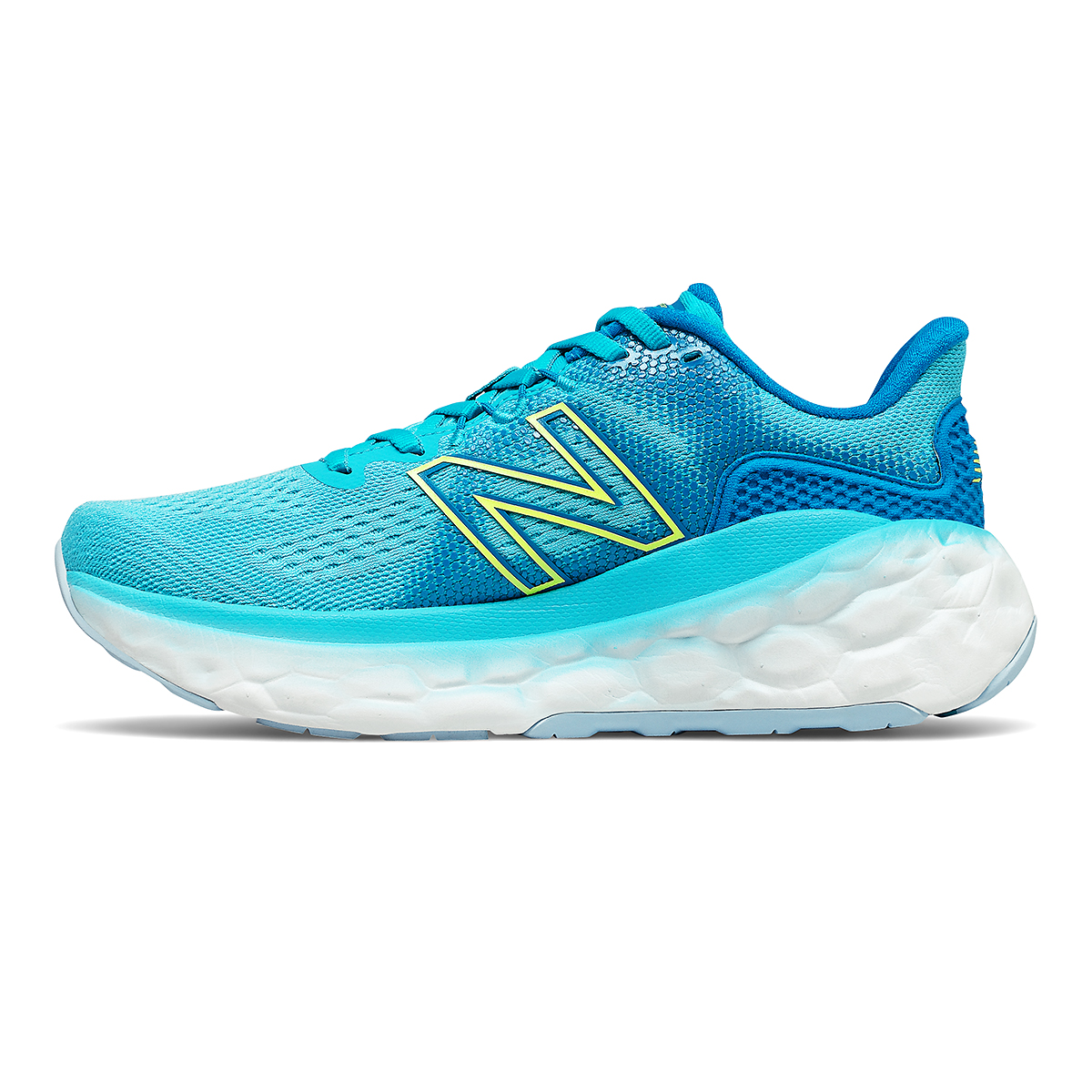 Women's New Balance Fresh Foam More V3 Running Shoe - Color: Virtual Sky/Bleached Lime Glo - Size: 5 - Width: Extra Wide, Virtual Sky/Bleached Lime Glo, large, image 2