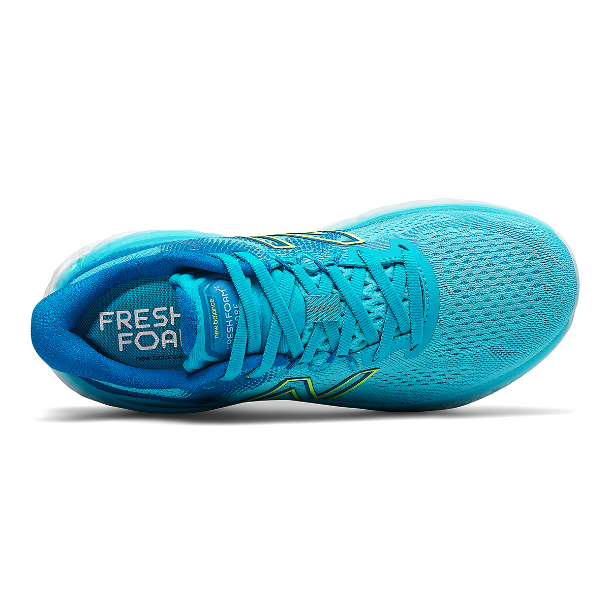 Women's New Balance Fresh Foam More V3 Running Shoe - Color: Virtual Sky/Bleached Lime Glo - Size: 5 - Width: Extra Wide, Virtual Sky/Bleached Lime Glo, large, image 3