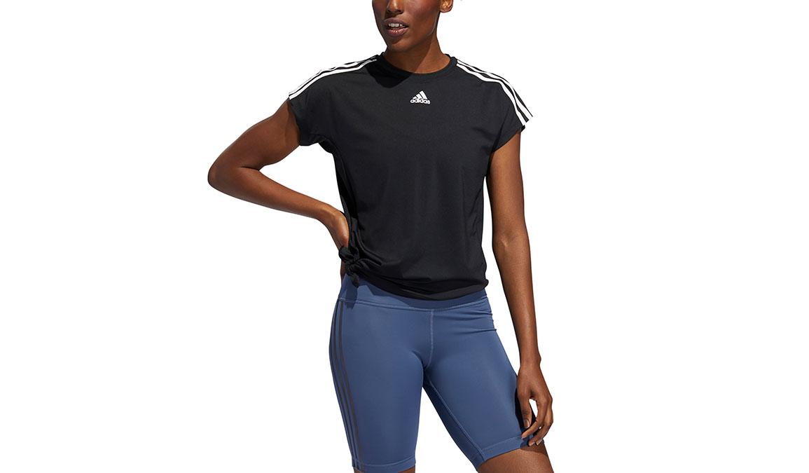 Women's Adidas 3 Stripe Tie Tee - Color: Black Size: L, Black, large, image 1