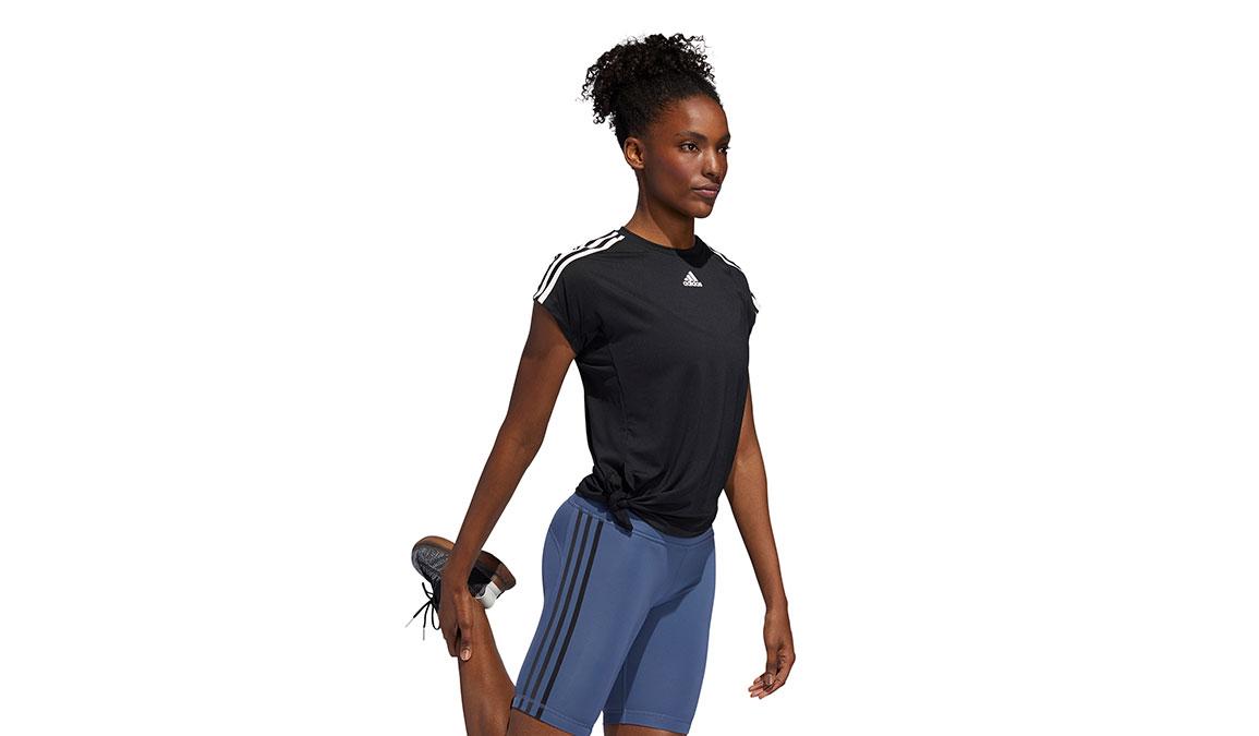 Women's Adidas 3 Stripe Tie Tee - Color: Black Size: L, Black, large, image 2