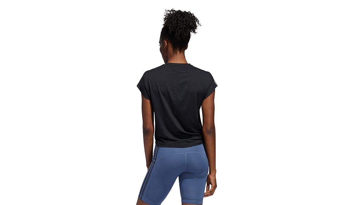 Women's Adidas 3 Stripe Tie Tee - Color: Black Size: L, Black, large, image 4
