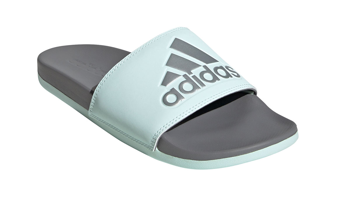 Women's Adidas Adilette Comfort Slides - Color: Ice Mint/Silver Metallic (Regular Width) - Size: 10, Ice Mint/Silver Metallic, large, image 3