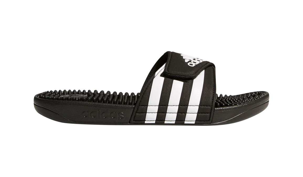 Women's Adidas Adissage Recovery Slides - Color: Black/White (Regular Width) - Size: 5, Black/White, large, image 1