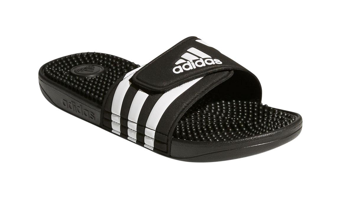 Women's Adidas Adissage Recovery Slides - Color: Black/White (Regular Width) - Size: 5, Black/White, large, image 2