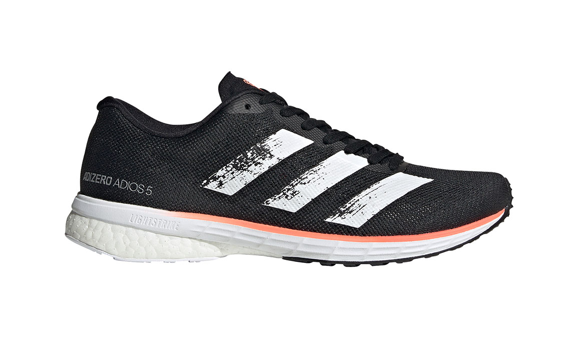 Women's Adidas Adizero Adios 5 Running Shoe - Color: Core Black/Feather White (Regular Width) - Size: 6, Black/White, large, image 1