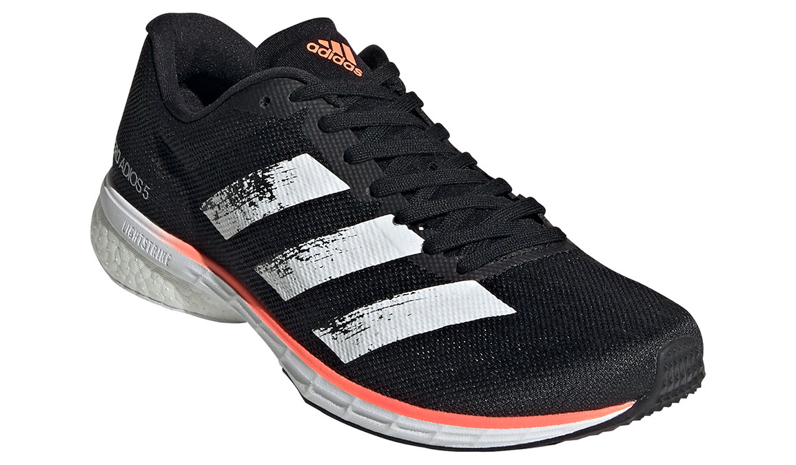 Women's Adidas Adizero Adios 5 Running Shoe - Color: Core Black/Feather White (Regular Width) - Size: 6, Black/White, large, image 3