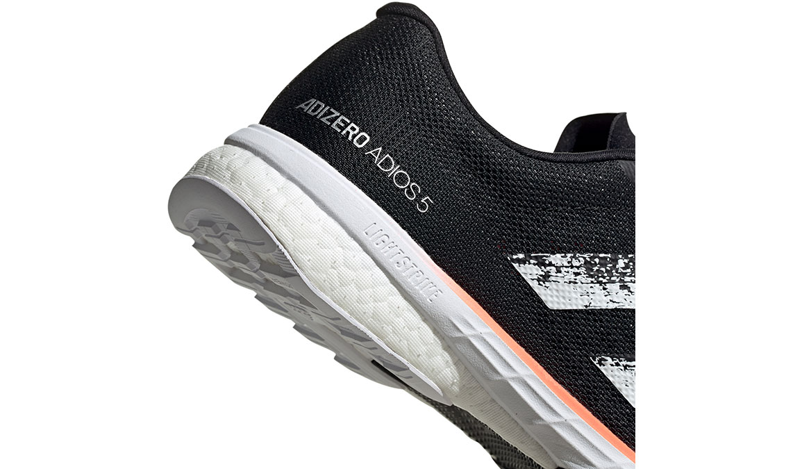 Women's Adidas Adizero Adios 5 Running Shoe - Color: Core Black/Feather White (Regular Width) - Size: 6, Black/White, large, image 4