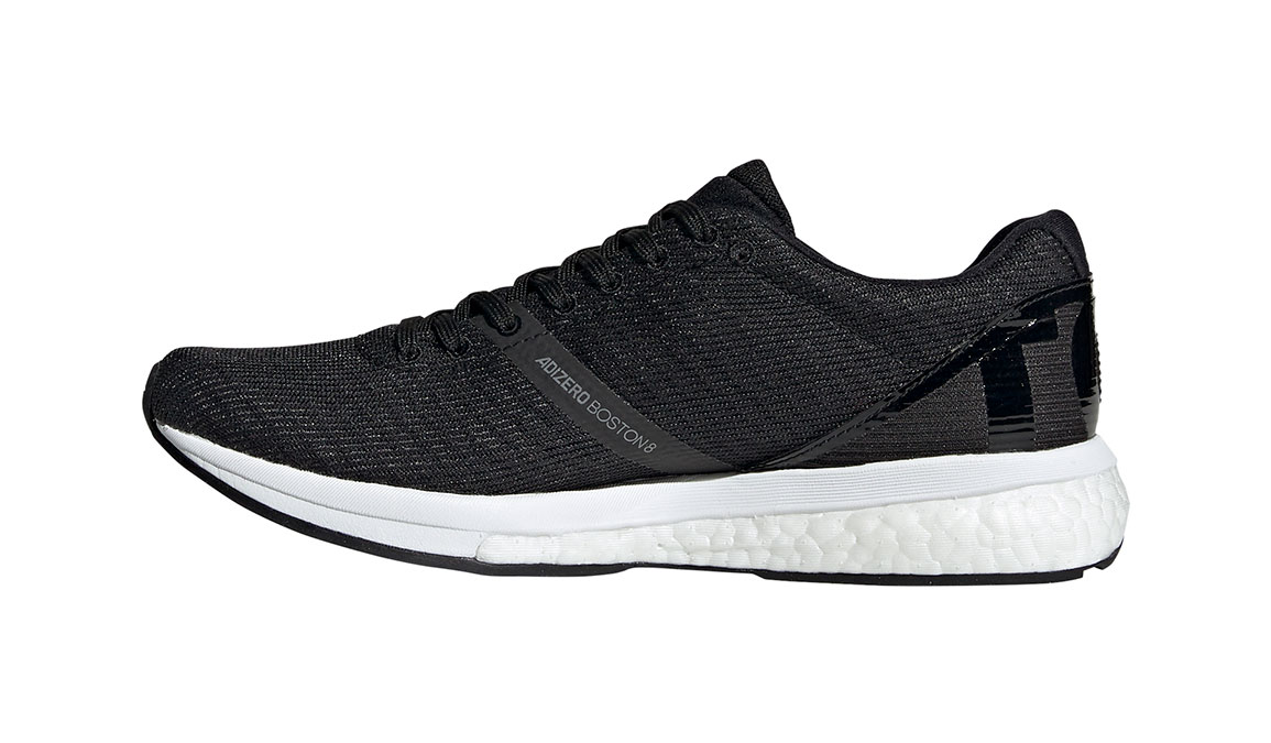Women's Adidas Adizero Boston 8 Running Shoe - Color: Core Black/Feather White (Regular Width) - Size: 8.5, Black/White, large, image 3