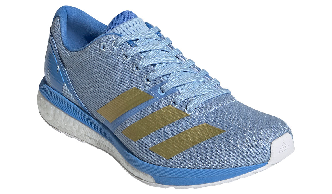 Women's Adidas Adizero Boston 8 Running Shoe - Color: Glow Blue/Gold Metallic (Regular Width) - Size: 5, Blue/Gold, large, image 4