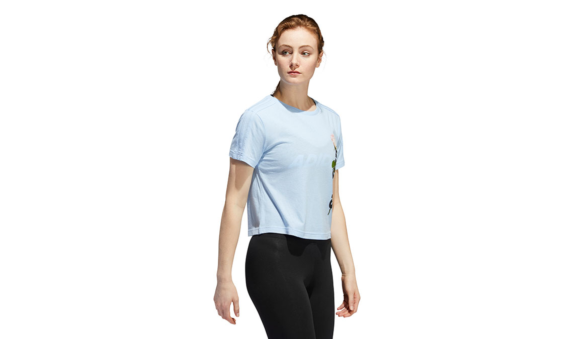 Women's Adidas Floral Essentials Short Sleeve - Color: Glow Blue Size: XS, Glow Blue, large, image 2