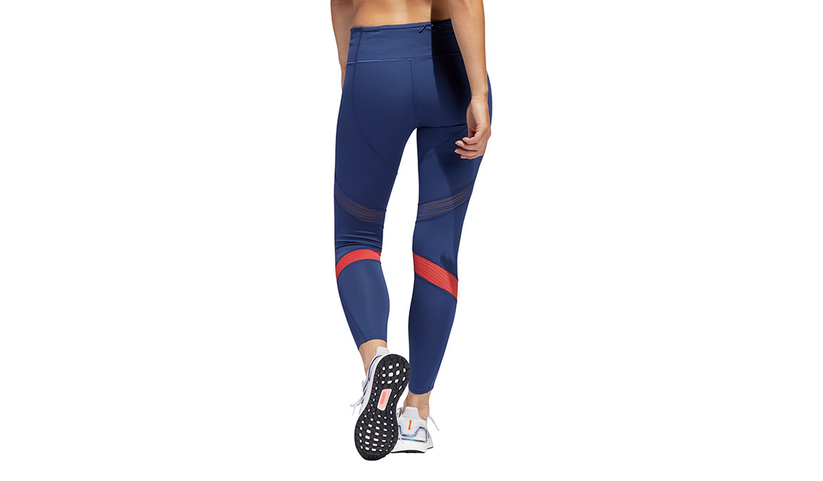 Women's Adidas How We Do 7/8 Tight - Color: Tech Indigo/Glory Red Size: XS, Blue/Red, large, image 2