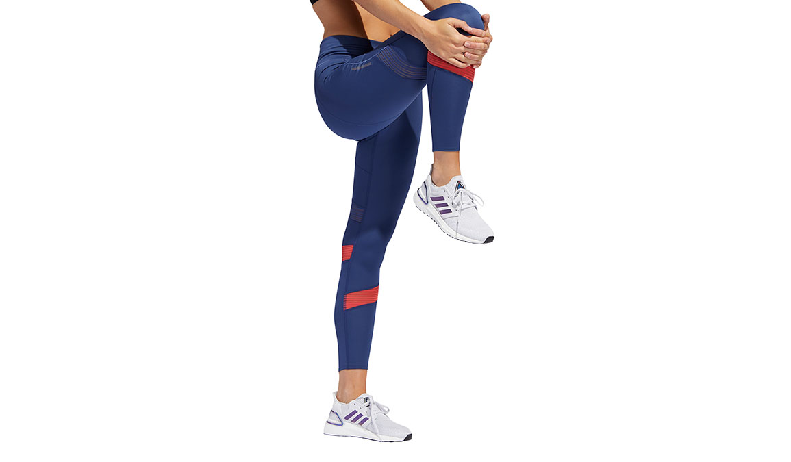 Women's Adidas How We Do 7/8 Tight - Color: Tech Indigo/Glory Red Size: XS, Blue/Red, large, image 4