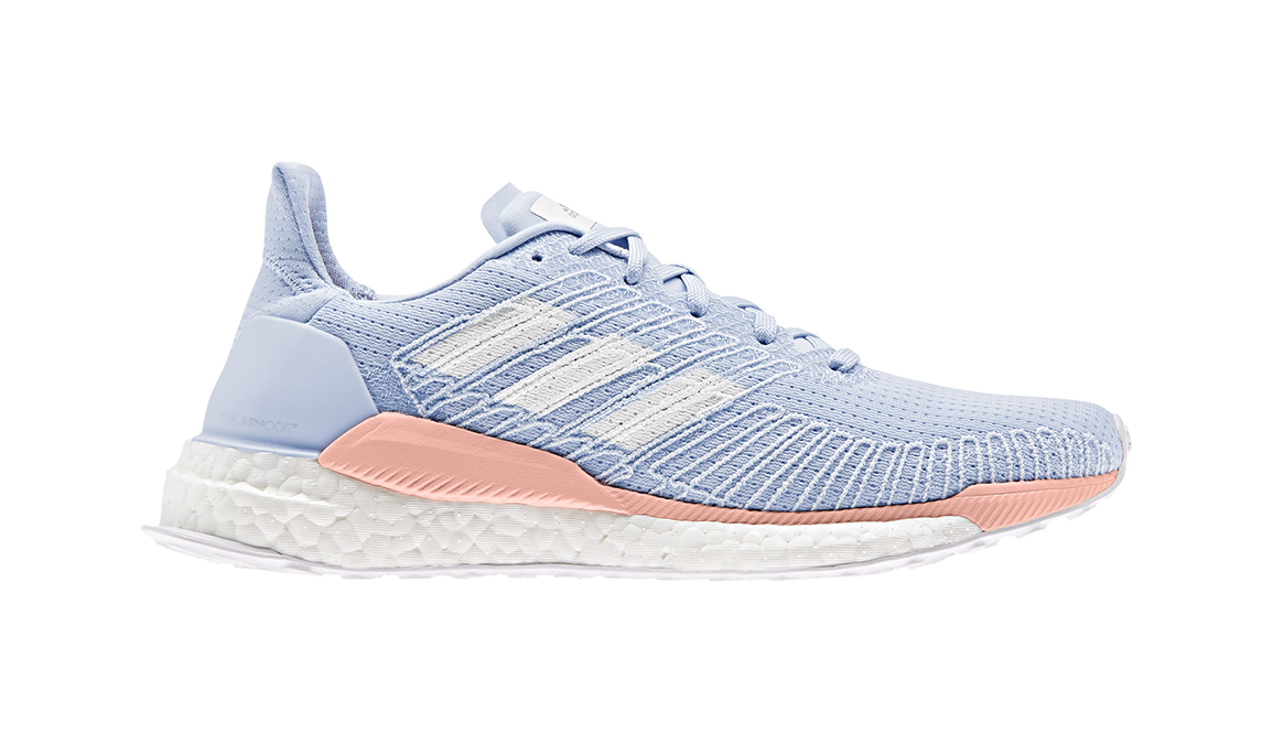 Women's Adidas Solar Boost 19 Running Shoe - Color: Glow Blue/Blue Tint S18/Glow Pink (Regular Width) - Size: 5.5, Blue/Pink, large, image 1