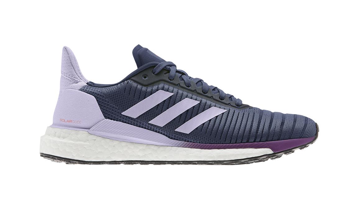 Women's Adidas Solar Glide 19 Running Shoe - Color: Tech Indigo/Ftwr White/Purple Tint (Regular Width) - Size: 6.5, Blue/Purple, large, image 1