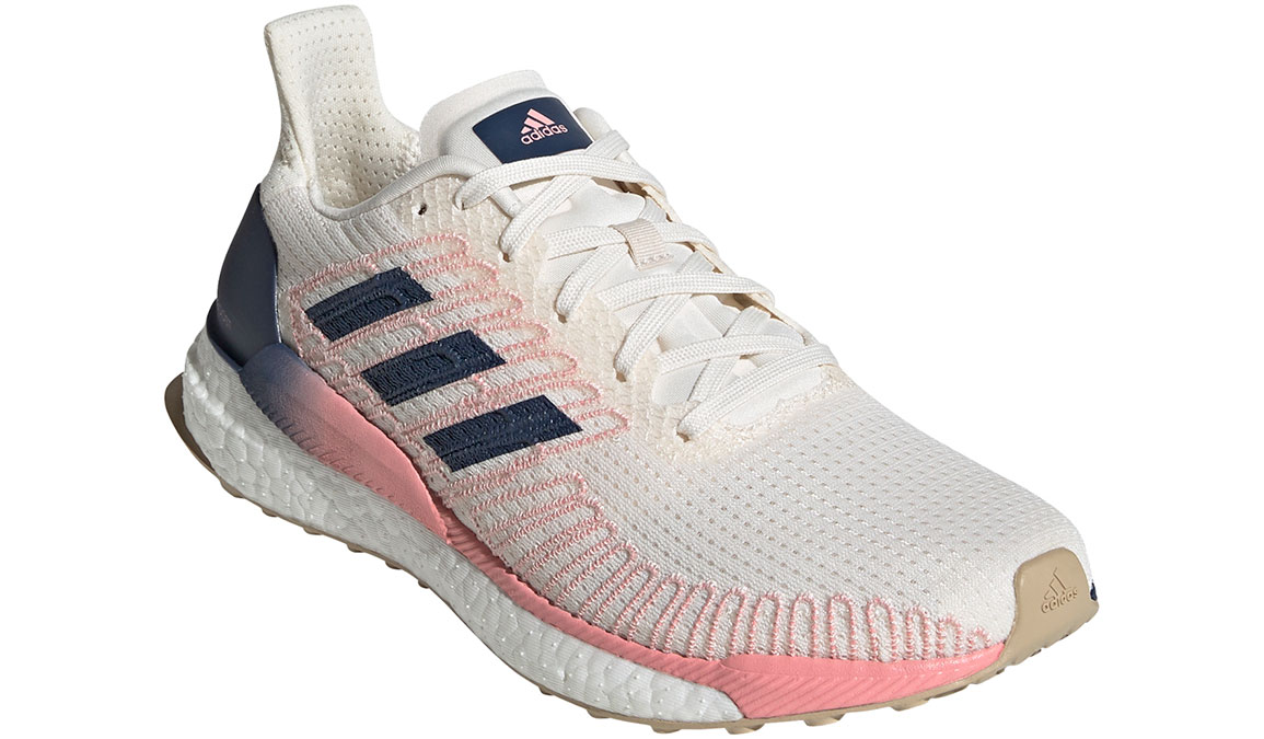 Women's Adidas SolarBOOST 19 Running Shoe - Color: Chalk White/Glory Pink (Regular Width) - Size: 7.5, White/Pink, large, image 4