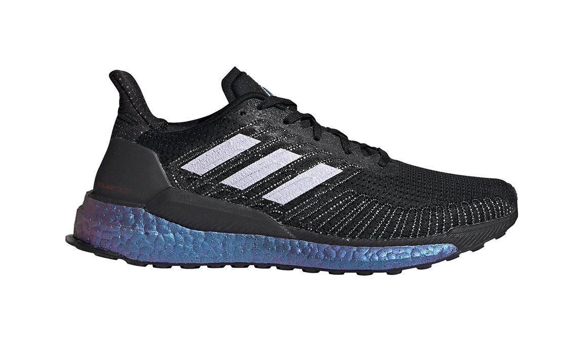 Women's Adidas SolarBOOST 19 Running Shoe - Space Race - Color: Core Black/Purple Tint (Regular Width) - Size: 5, Black/Purple, large, image 1