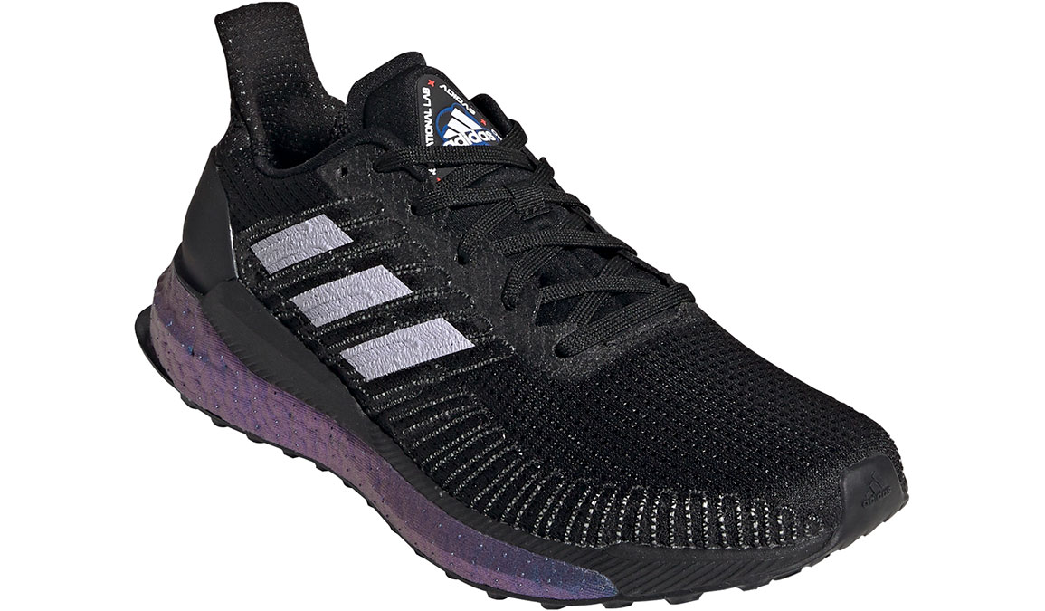 Women's Adidas SolarBOOST 19 Running Shoe - Space Race - Color: Core Black/Purple Tint (Regular Width) - Size: 5, Black/Purple, large, image 3