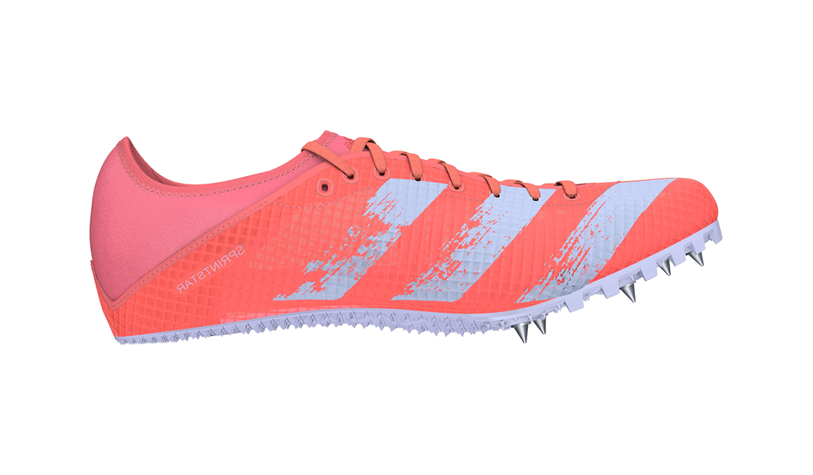 Women's Adidas Sprintstar Track Spikes - Color: Signal Coral/Silver Met./Ftwr White (Regular Width) - Size: 6, Pink, large, image 1