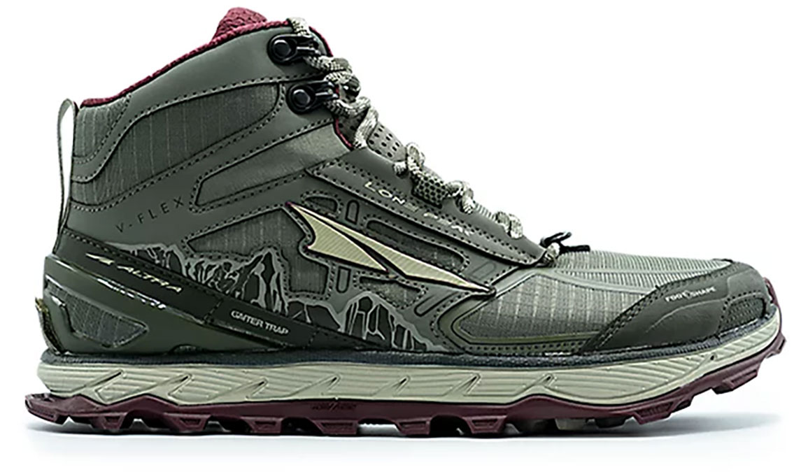 Women's Altra Lone Peak 4 Mid Mesh Running Shoe - Color: Olive/Dark Port (Regular Width) - Size: 6.5, Olive/Dark Port, large, image 1
