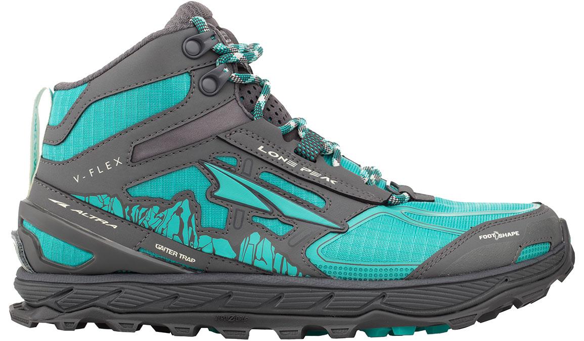 Women's Altra Lone Peak 4 Mid Mesh Trail Running Shoe - Color: Teal/Grey (Regular Width) - Size: 6.5, Teal, large, image 1