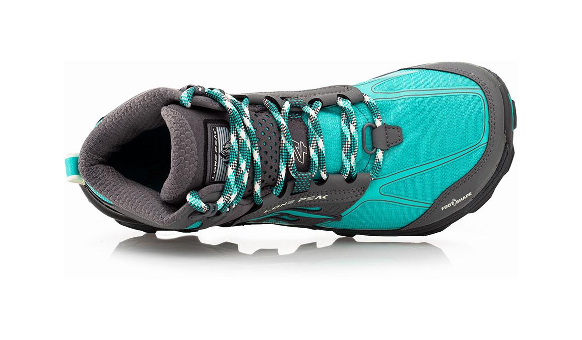 Women's Altra Lone Peak 4 Mid Mesh Trail Running Shoe - Color: Teal/Grey (Regular Width) - Size: 6.5, Teal, large, image 3