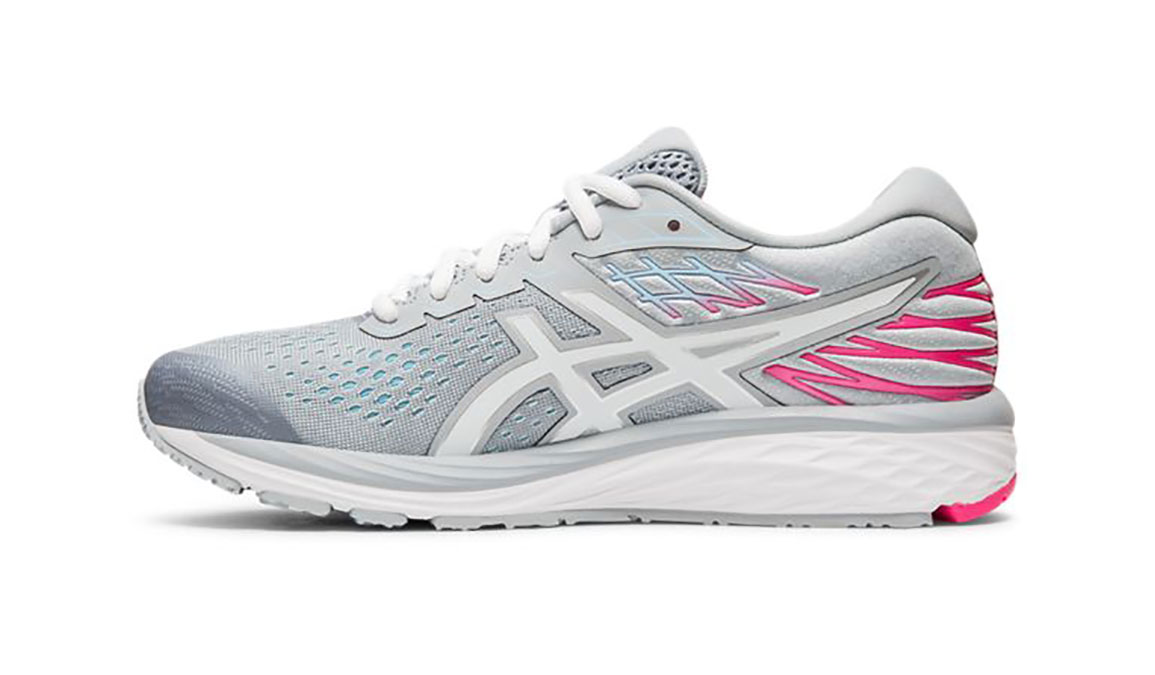 Women's Asics GEL-Cumulus 21 Running Shoe - Color: Piedmont Grey/White (Regular Width) - Size: 5.5, Grey/White, large, image 2
