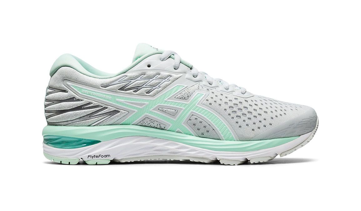 Women's Asics GEL-Cumulus 21 Running Shoe JackRabbit Exclusive - Color: Polar Shade (Regular Width) - Size: 6.5, White/Green, large, image 1