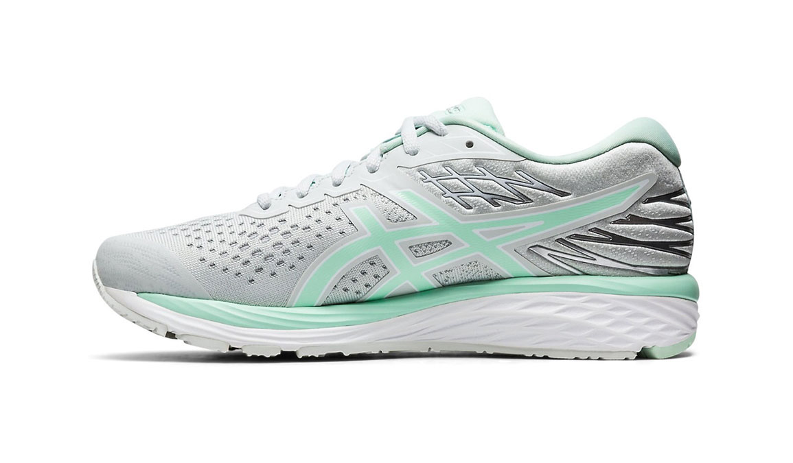 Women's Asics GEL-Cumulus 21 Running Shoe JackRabbit Exclusive - Color: Polar Shade (Regular Width) - Size: 6.5, White/Green, large, image 2