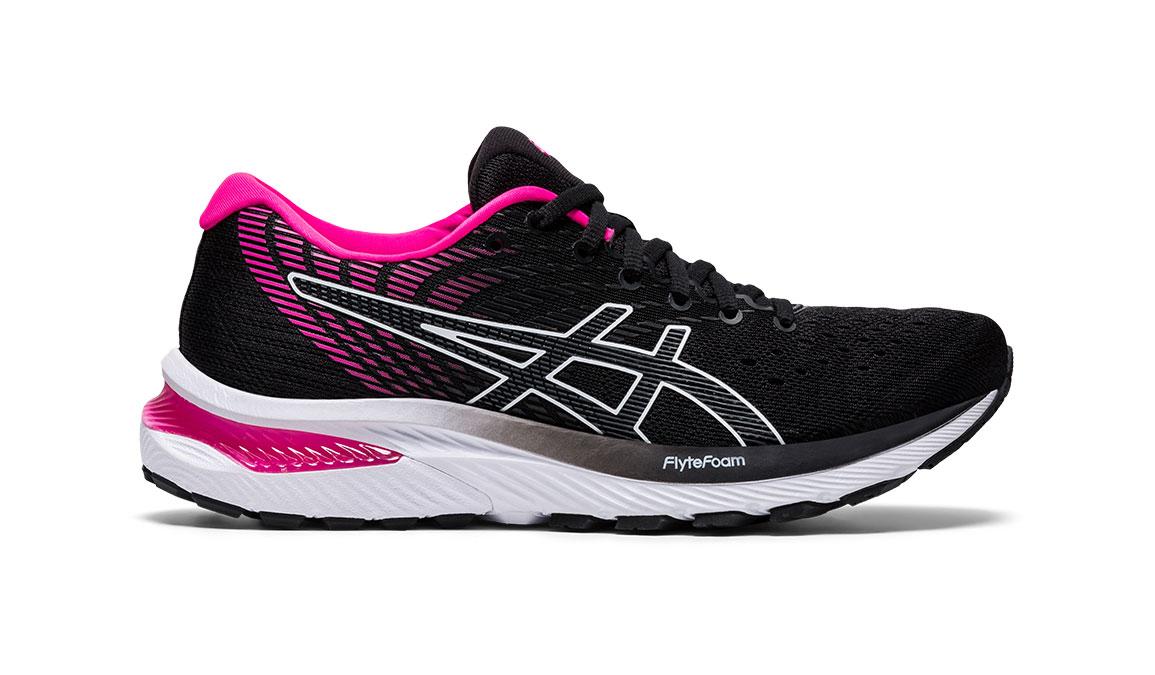 Women's Asics GEL-Cumulus 22 Running Shoe - Color: Black/Pink Glo (Regular Width) - Size: 6, Black/Pink, large, image 1