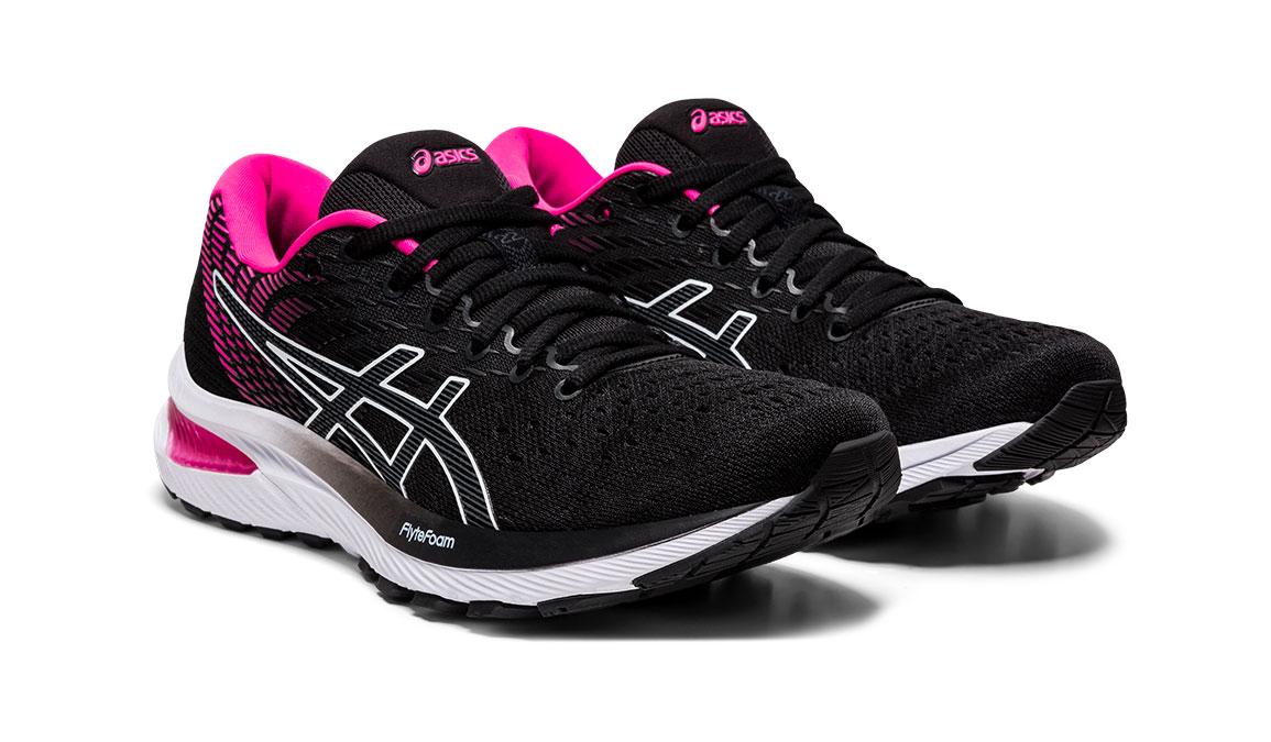 Women's Asics GEL-Cumulus 22 Running Shoe - Color: Black/Pink Glo (Regular Width) - Size: 6, Black/Pink, large, image 2