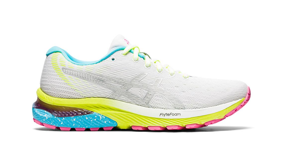 Women's Asics GEL-Cumulus 22 Running Shoe - Color: White/Pure Silver (Regular Width) - Size: 6, White/Yellow, large, image 1