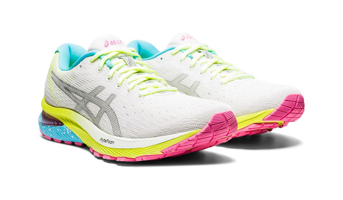 Women's Asics GEL-Cumulus 22 Running Shoe - Color: White/Pure Silver (Regular Width) - Size: 6, White/Yellow, large, image 2