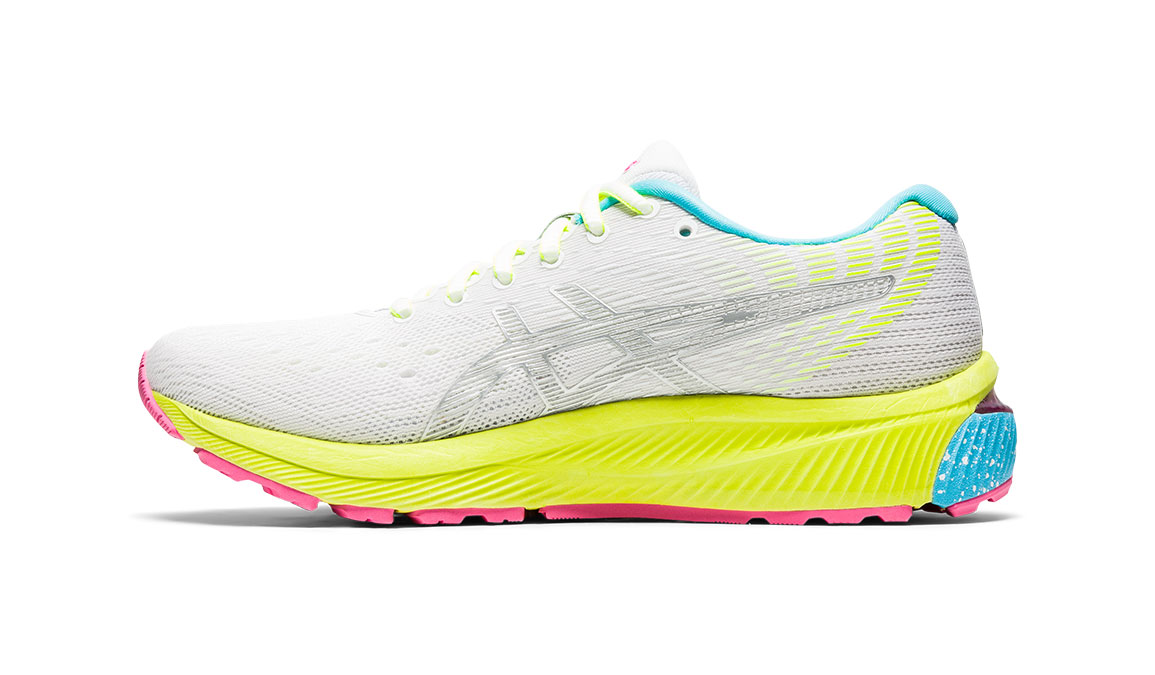 Women's Asics GEL-Cumulus 22 Running Shoe - Color: White/Pure Silver (Regular Width) - Size: 6, White/Yellow, large, image 3