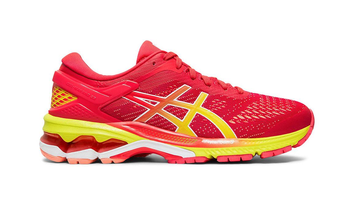 Women's Asics GEL-Kayano 26 Arise Running Shoe - Color: Laser Pink/Sour Yuzu (Regular Width) - Size: 7.5, Pink/Yellow, large, image 1
