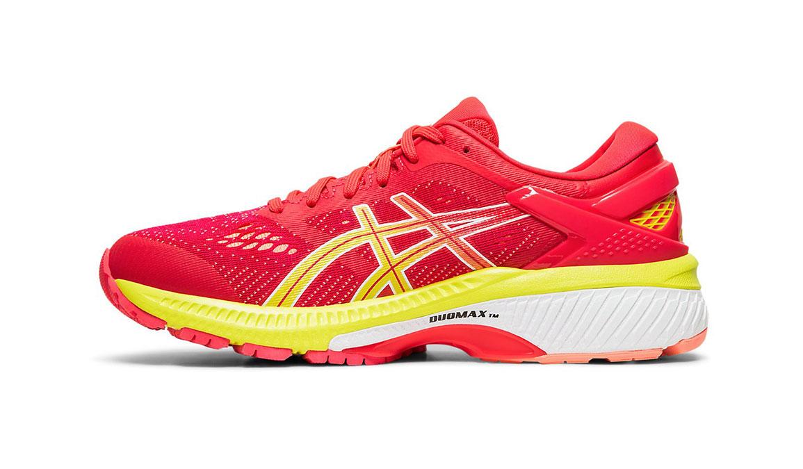 Women's Asics GEL-Kayano 26 Arise Running Shoe - Color: Laser Pink/Sour Yuzu (Regular Width) - Size: 7.5, Pink/Yellow, large, image 2
