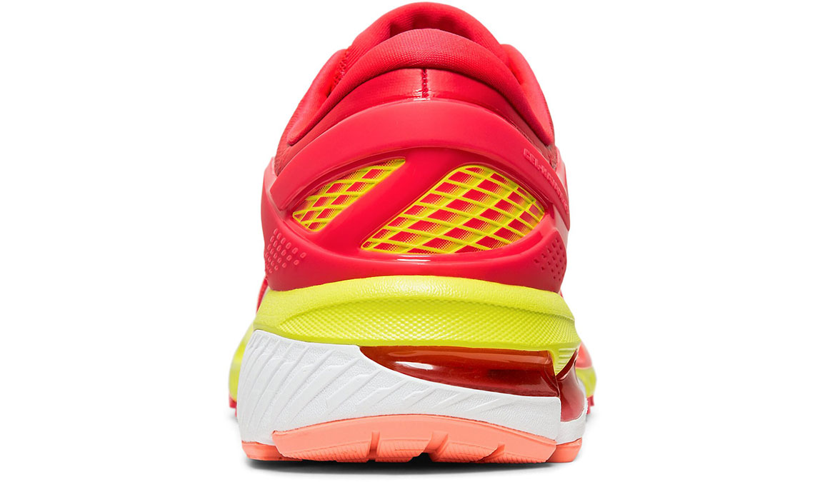 Women's Asics GEL-Kayano 26 Arise Running Shoe - Color: Laser Pink/Sour Yuzu (Regular Width) - Size: 7.5, Pink/Yellow, large, image 4