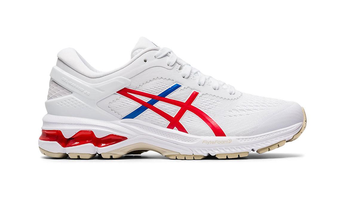 Women's Asics GEL-Kayano 26 Retro Tokyo Running Shoe - Color: White/Red (Regular Width) - Size: 7, White/Red, large, image 1