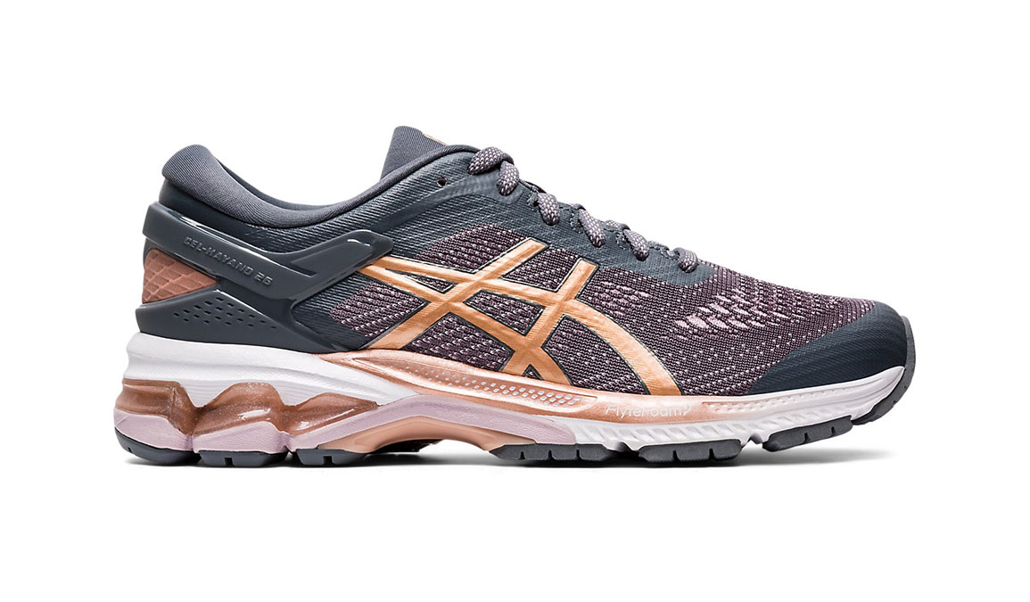 Women's Asics GEL-Kayano 26 Running Shoe - Color: Metropolis/Rose Gold (Regular Width) - Size: 6, Grey/Rose, large, image 1
