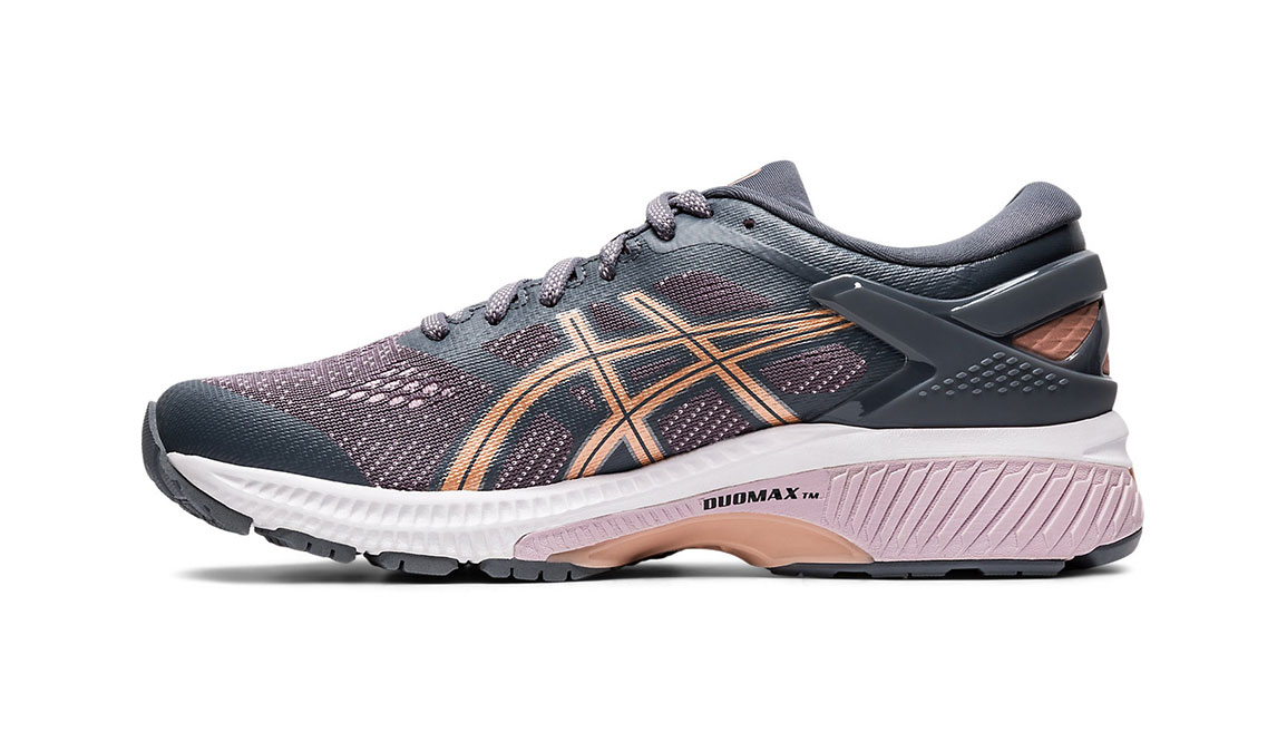 Women's Asics GEL-Kayano 26 Running Shoe - Color: Metropolis/Rose Gold (Regular Width) - Size: 6, Grey/Rose, large, image 2