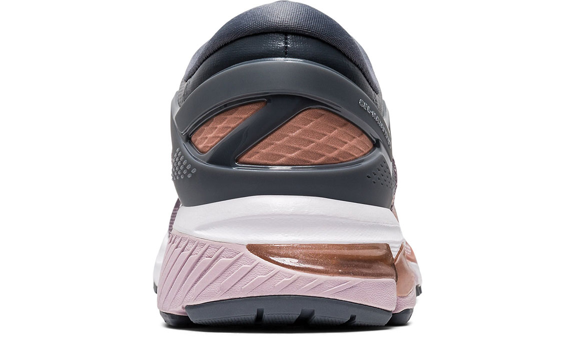 Women's Asics GEL-Kayano 26 Running Shoe - Color: Metropolis/Rose Gold (Regular Width) - Size: 6, Grey/Rose, large, image 4