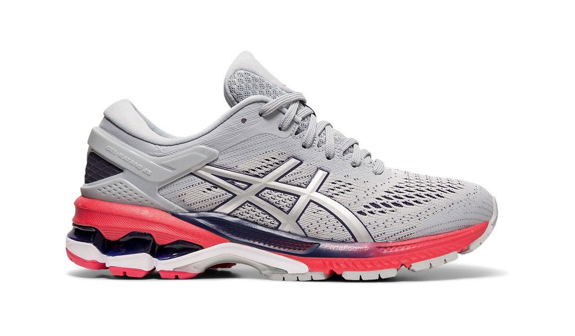 Women's Asics GEL-Kayano 26 Running Shoe - Color: Piedmont Grey/Silver (Regular Width) - Size: 8.5, Grey/Red, large, image 1