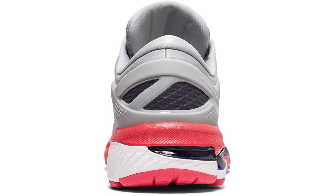 Women's Asics GEL-Kayano 26 Running Shoe - Color: Piedmont Grey/Silver (Regular Width) - Size: 8.5, Grey/Red, large, image 4
