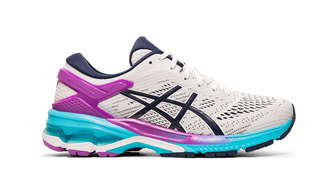 Women's Asics GEL-Kayano 26 Running Shoe - Color: White/Peacoat (Regular Width) - Size: 6.5, White/Purple, large, image 1