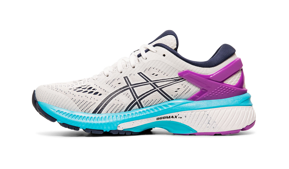 Women's Asics GEL-Kayano 26 Running Shoe - Color: White/Peacoat (Regular Width) - Size: 6.5, White/Purple, large, image 2