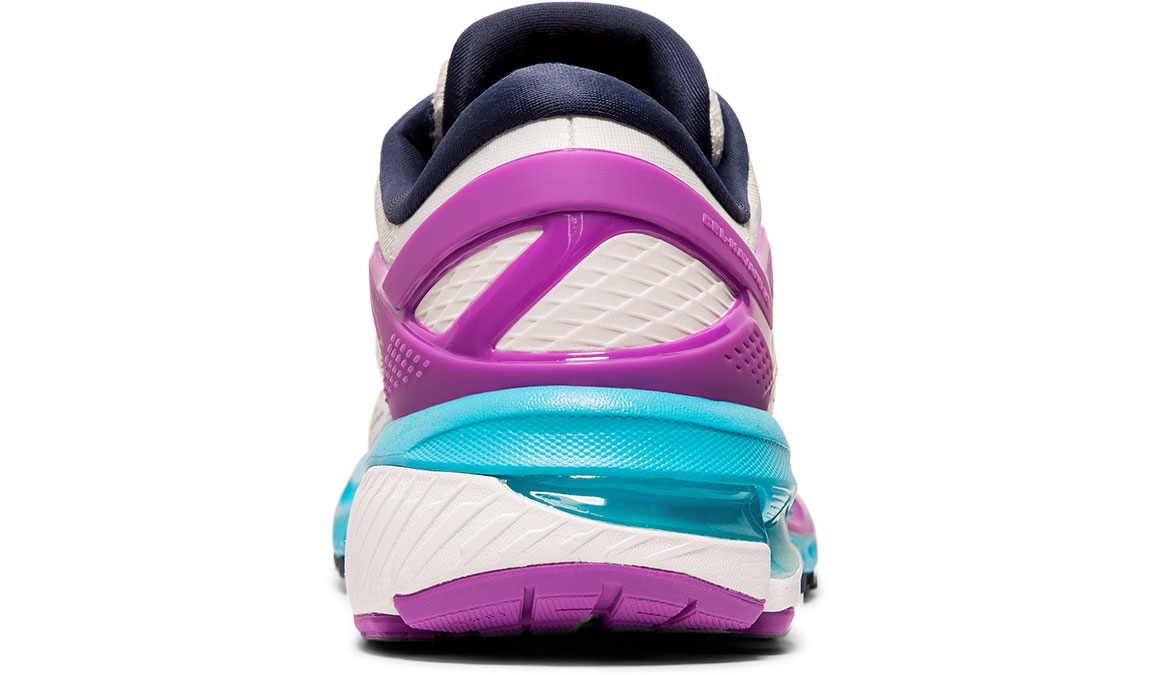 Women's Asics GEL-Kayano 26 Running Shoe - Color: White/Peacoat (Regular Width) - Size: 6.5, White/Purple, large, image 4