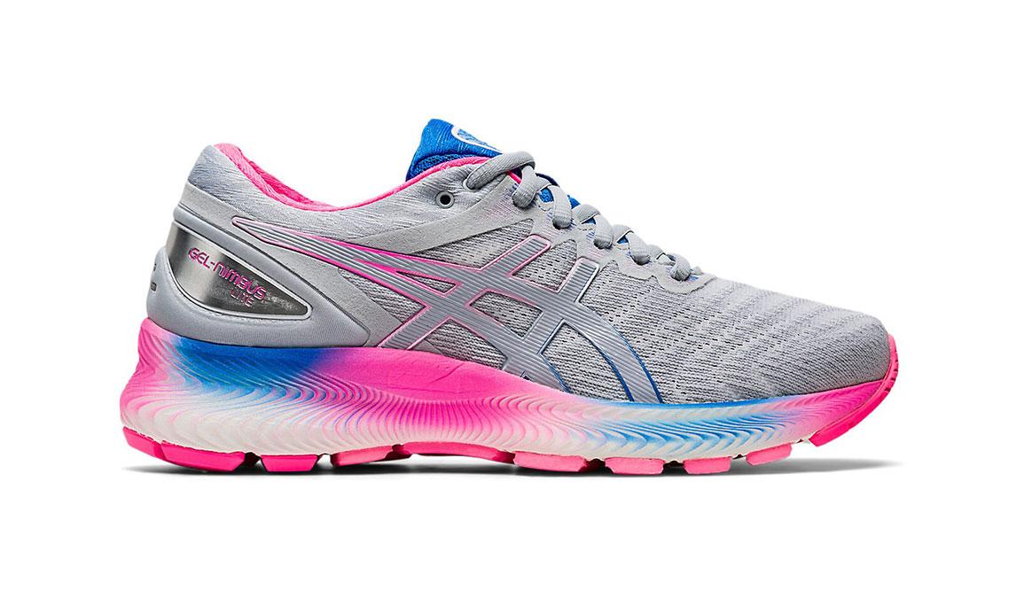 Women's Asics GEL-Nimbus Lite Running Shoe - Color: Piedmont Grey/Pink (Regular Width) - Size: 9.5, Grey/Pink, large, image 1