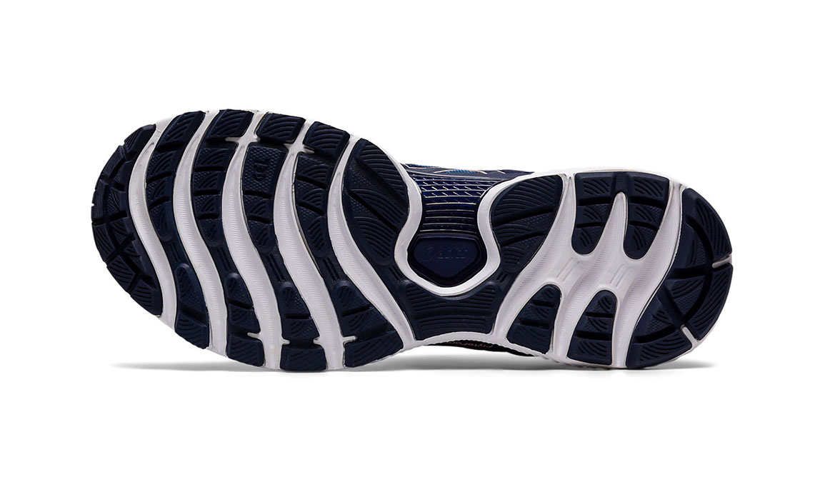 Women's Asics GEL-Nimbus 22 Running Shoe - Color: Grey Floss/Peacoat (Wide Width) - Size: 6, Blue/Pink, large, image 3